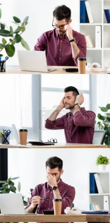 collage of businessman working on laptop and listening music in wireless headphones near coffee to go