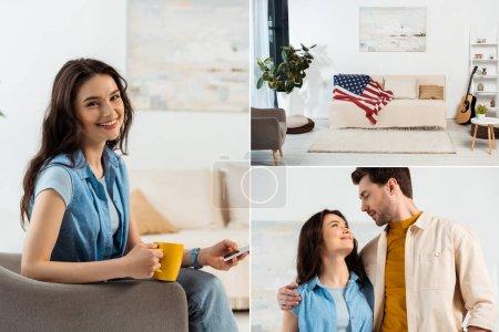 Photo pour Collage de femme souriante tenant tasse et smartphone, homme embrassant petite amie et drapeau américain sur le canapé sur le salon - image libre de droit