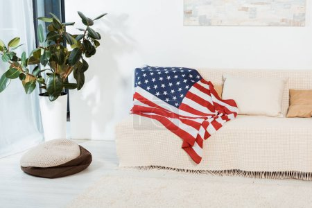 Photo for American flag on couch in living room - Royalty Free Image