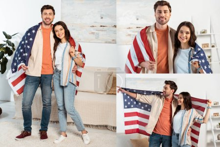 Collage of smiling couple wrapped in american flag smiling at camera in living room