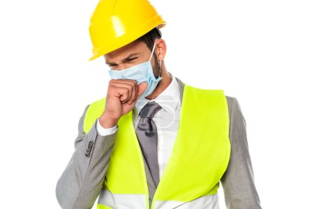 Sick engineer in medical mask coughing isolated on white