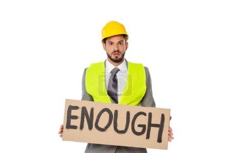 Photo pour Ingénieur en costume et casque avec suffisamment de lettrage isolé sur blanc - image libre de droit