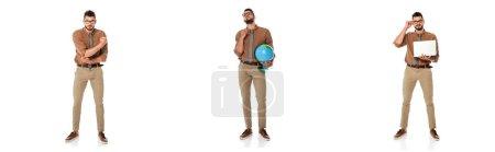 Photo pour Collage de beau professeur tenant globe et ordinateur portable sur fond blanc - image libre de droit