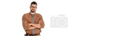 Photo for Panoramic shot of serious teacher with crossed arms looking at camera isolated on white - Royalty Free Image