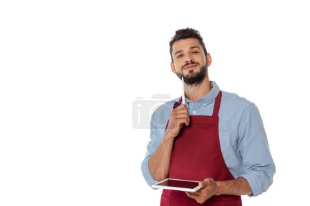 Photo for Handsome bearded waiter holding pen and digital tablet while looking at camera isolated on white - Royalty Free Image