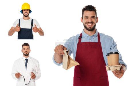 Photo pour Collage de serveur souriant avec café à emporter et sac en papier, médecin tenant stéthoscope et ouvrier montrant les pouces isolés sur blanc - image libre de droit