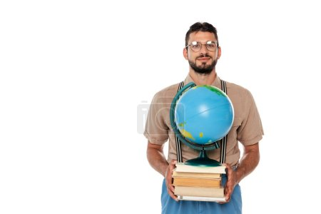 Photo for Nerd in suspenders and eyeglasses holding books and globe isolated on white - Royalty Free Image