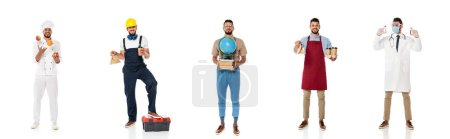 Collage of man in uniforms of professions with equipment on white background