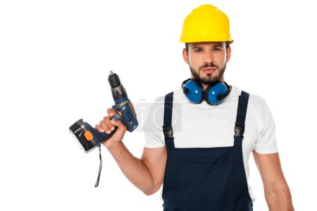 Handsome workman holding electric screwdriver isolated on white