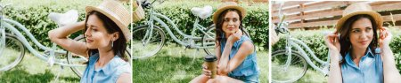 collage of girl in straw hat holding paper cup and sitting near bicycle