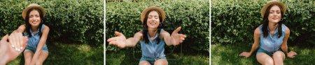 Photo pour Collage de l'homme tenant la main avec fille gaie dans chapeau de paille assis sur l'herbe - image libre de droit