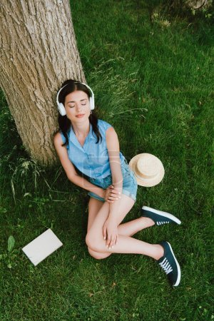 Photo for High angle view of young woman in closed eyes listening music while sitting on grass near book and stylish straw hat - Royalty Free Image