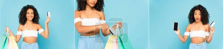 collage of emotional african american woman holding credit cards, smartphone and shopping bags isolated on blue