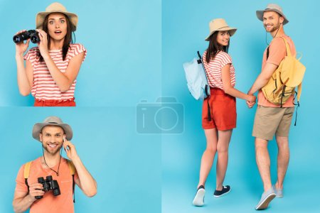 collage of couple in hats holding hands, surprised woman with binoculars and man talking on smartphone on blue