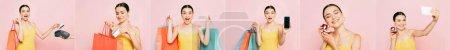 Photo pour Collage de jeune femme brune avec des sacs à provisions isolés sur rose, plan panoramique - image libre de droit