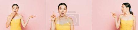 Foto de Collage de morena sorprendida joven señalando a un lado en rosa, tiro panorámico - Imagen libre de derechos