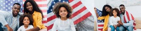 Collage einer afrikanisch-amerikanischen Familie, die neben der Flagge Amerikas sitzt und in die Kamera blickt