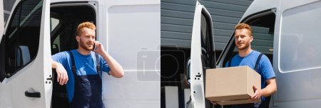 Collage of loader talking on smartphone and holding cardboard box near truck outdoors