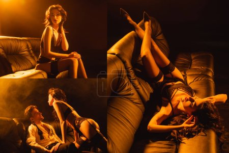 collage of seductive woman sitting and lying on sofa, sexy couple looking at each other on black