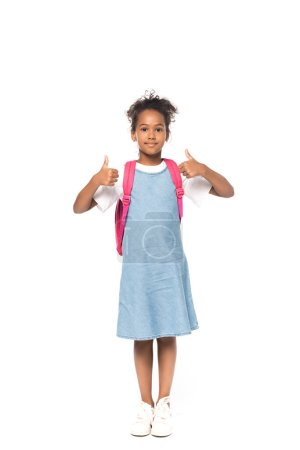 Photo for African american schoolkid showing thumbs up isolated on white - Royalty Free Image