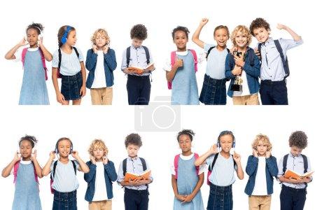 Photo pour Collage d'écoliers multiculturels écoutant de la musique dans des écouteurs sans fil près de bouclé garçon lecture livre isolé sur blanc - image libre de droit