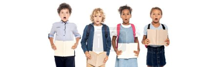 Photo for Panoramic concept of shocked multicultural schoolgirls and schoolboys holding books isolated on white - Royalty Free Image