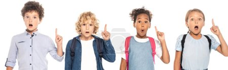 Photo pour Website header of shocked multicultural schoolgirls and schoolboys showing idea sign isolated on white - image libre de droit