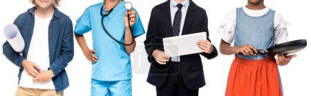 Photo pour Panoramic crop of multicultural kids in costumes of different professions holding blueprint, frying pan, stethoscope and digital tablet isolated on white - image libre de droit
