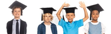 Photo for Panoramic crop of multicultural kids in graduation caps dressed in costumes of different professions near child with raised hands isolated on white - Royalty Free Image