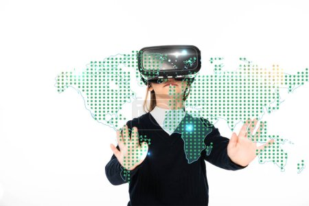 Photo for Schoolgirl standing with outstretched hands while using virtual reality headset isolated on white, global map illustration - Royalty Free Image