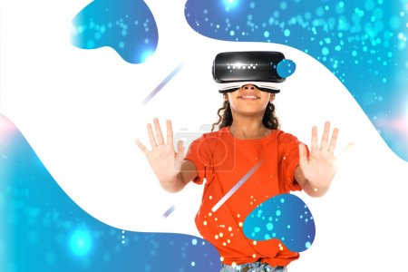Photo for African american child using virtual reality headset isolated on white, abstract glowing illustration - Royalty Free Image