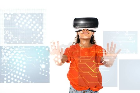Photo for African american child using virtual reality headset isolated on white, abstract digital illustration - Royalty Free Image