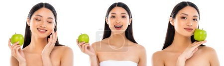 Photo for Collage of asian woman posing with green apple in hand and near face isolated on white - Royalty Free Image