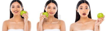 Collage de mujer asiática posando con manzana verde en la mano y cerca de la cara aislada en blanco