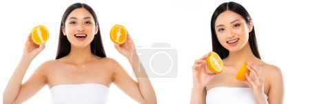 Photo for Collage of joyful asian woman holding sliced orange in hands isolated on white - Royalty Free Image