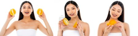 Collage of young adult asian woman holding sliced orange isolated on white