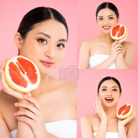 Collage of asian woman holding sliced grapefruit and touching face isolated on pink