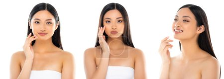 Photo pour Collage of young asian woman touching face and looking at camera isolated on white, panoramic concept - image libre de droit