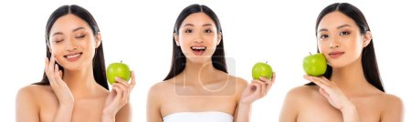collage of brunette asian woman looking at camera and touching face while holding green apple isolated on white, horizontal image