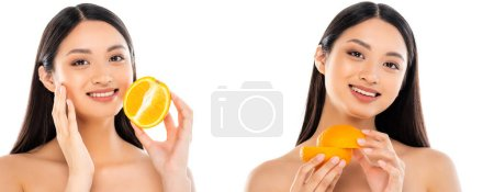 Photo for Collage of brunette asian woman holding halves of ripe orange and touching face isolated  on white, horizontal image - Royalty Free Image