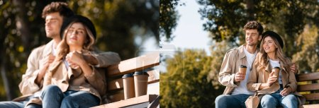 Photo for Collage of blonde woman in hat and man in trench coat holding paper cups while sitting on bench - Royalty Free Image