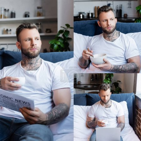 Photo for Collage of young tattooed freelancer having breakfast, reading newspaper, holding cup of coffee and using laptop in bedroom - Royalty Free Image