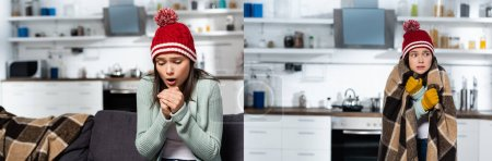 collage of cold woman in knitted hat wrapping in plaid blanket and blowing on clenched hands in kitchen, panoramic orientation