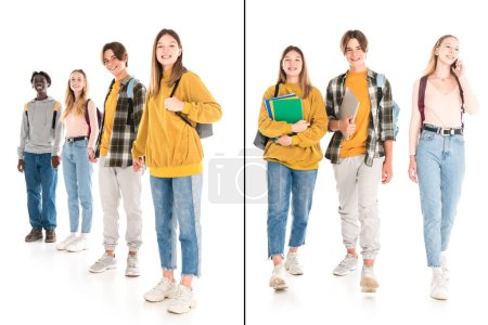 Collage of smiling multiethnic teenagers holding hands and notebooks on white background