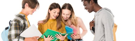 Photo for Website header of smiling multiethnic teenagers looking at notebook isolated on white - Royalty Free Image