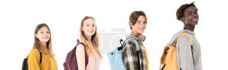 Photo for Website header of smiling multicultural teenagers with backpacks looking at camera isolated on white - Royalty Free Image