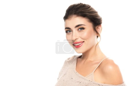 Photo for Joyful woman in openwork sweater looking at camera isolated on white - Royalty Free Image