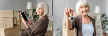 collage of senior woman holding digital tablet with blank screen and looking back and holding keys, moving concept