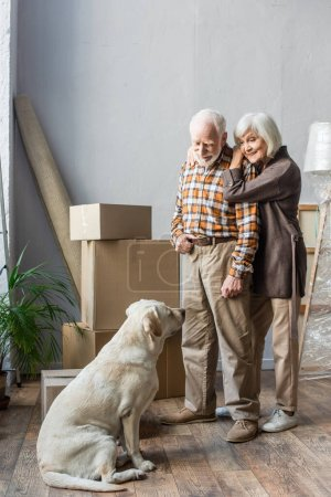full length of cheerful senior couple looking at dog with cardboard boxes on background