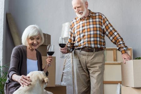 senior couple holding glasses of wine and looking at dog in new house